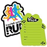 Set The Pace - Running - Shaped Fill-In Invitations - Track, Cross Country or Marathon Party Invitation Cards with Envelopes - Set of 12