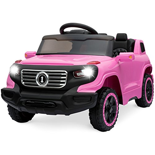 (Best Choice Products 6V Kids Ride-On Car Truck w/ Parent Control, 3 Speeds, LED Headlights, MP3 Player, Horn - Pink)