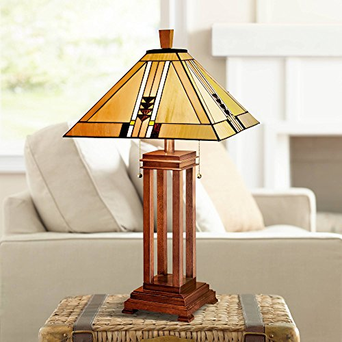 Robert Brass Table Lamp - Prairie Art Deco Table Lamp Oak Wood Stained Glass Shade for Living Room Family Bedroom Bedside Nightstand Office - Robert Louis Tiffany