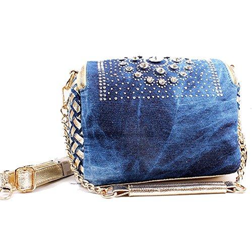di Nuova denim borchie blu nappe con con borsa in strass F1F0Hw