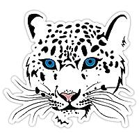 "Snow leopard blue eyes sticker decal 5"" x 4"""
