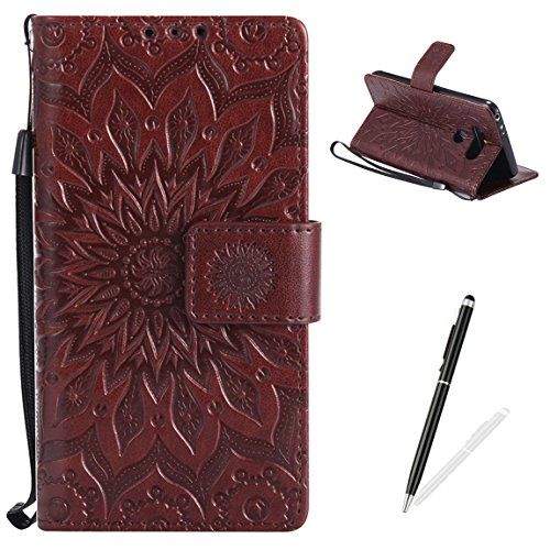LG G5 Wallet Case Premium Soft PU Leather Cover with Card Slots and Wrist Strap Stand Function MAGQI Embossed Mandala Cover for LG G5 + Black Stylus - Brown