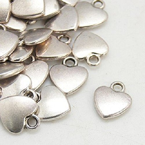 20 Tibetan Style Heart Charms Antique Silver Colour Attachment Rings Included China