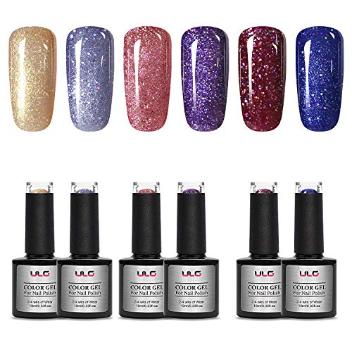 Gel Nail Polish Kit 6 Shiny Colors 10ml ULG UV LED Soak Off Nail Lacquer Glitter Nail Art Manicure 0.33fl.oz Required UV LED Nail Light Lamp
