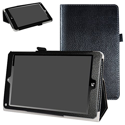 NuVision TM800P610L TM800W610L Case,Mama Mouth PU Leather Folio 2-Folding Stand Cover for 8.0 2017 Newest NuVision TM800P610L TM800W610L Windows 10 Signature Edition Tablet,Black