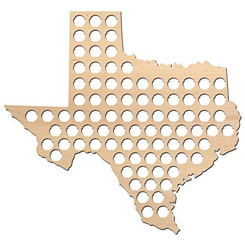 Texas Beer Cap Map - 23x21 inches - 87 caps - Beer Cap Holder Texas - Birch Plywood - Large Size