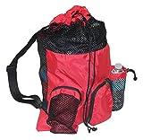 Adoretex Big Mesh Equipment Sport Drawstring Gym Swim Bag - UMB001 - Red