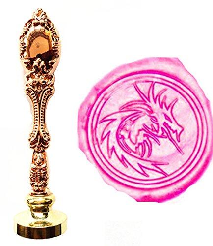 (MNYR Vintage Rose Gold Heraldic Filigree Fire Dragon Art Wax Seal Stamp Luxury Metal Peacock Decorative Wedding Invitation Gift Card Paper Stationary Envelope Custom Picture Wax Seal Sealing Stamp Set)