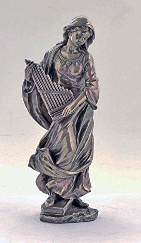 Cecilia Cast - St. Cecilia statue in lightly hand-painted cold-cast bronze, 8.5