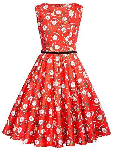 GRACE KARIN Vintage Dresses 1920s A-Line Swing Dress For Women With Belt Size L CL618-2