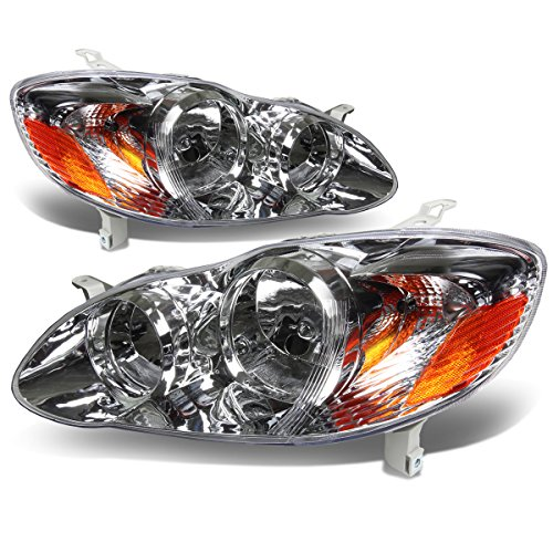 For 03-08 Corolla E120 Pair of Chrome Housing Amber Corner Headlight Lamps Kit
