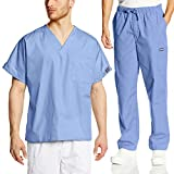 Cherokee Mens Workwear Scrub Set Medical/Dentist Uniform V-neck Top & Cargo Pant (Ciel, Medium)