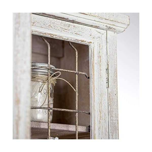 American Art Decor Rustic Shabby Chic Whitewashed Wood and Metal Hanging Storage Cabinet with Shelves – Farmhouse Decor