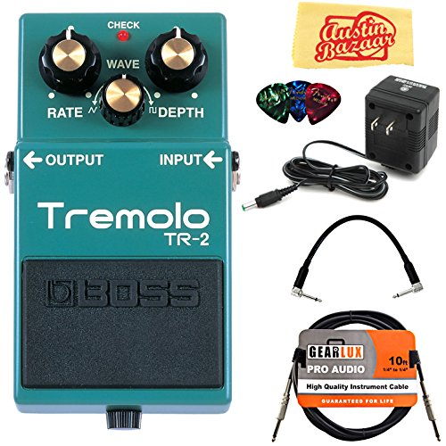 Boss TR-2 Tremolo Bundle with Power Supply, Instrument Cable, Patch Cable, Picks, and Austin Bazaar Polishing ()