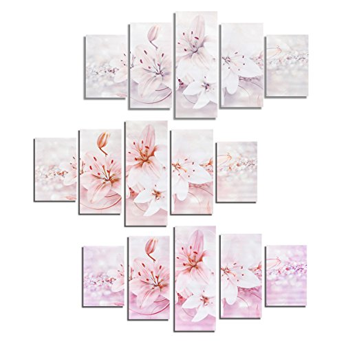 Tuersuer Warm and Beautiful Frameless Canvas Print 5PCS Lilies Modern Canvas Painting Mural Wall Picture Paintings Home Decoration (Color : - Pink Beautiful Lilies
