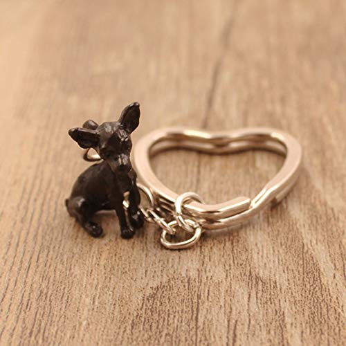 2018 Chihuahua Animal Gold Silver Plated Metal Pendant Keychain for Bag Car Women Men Girls Boys Love Jewelry ()