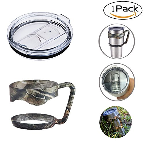 1 Pack 30 Oz Camo Tumbler Handle Jungle Camouflage Grip Handler and Lid For Yeti RTIC Trail Rambler Tumbler Travel Cup Mug(1 Handle,1 Lid)