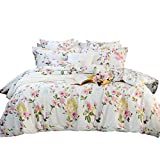 FADFAY Elegant and Shabby Floral Colorful Butterfly 100% Cotton Duvet Cover Set Hypoallergenic with Hidden Zipper Closure,King/California King Size 3-Pieces