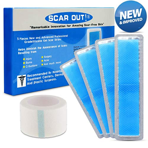 ScarOut! Silicone Scar Sheets for Scar Removal (2 Month Supply) - C Section Recovery Scar Treatment, Keloid Scar Removal and more! - 5x Silicon Sheets For Scars in two sizes - Scar Gel Silicone Tape (Tummy Tuck Device)