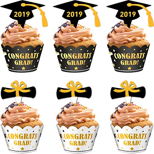 2019 Graduation Cupcake Toppers and Wrappers Graduation Cupcake Picks Topper Holders for Graduation Mini Cake Decoration (48)
