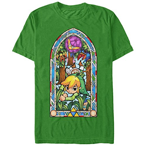Stained Ducks Glass - Nintendo Men's Legend of Zelda Stained Glass Forest Kelly Green T-Shirt