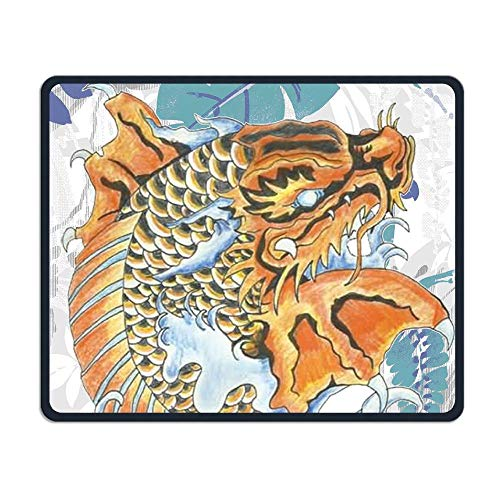 Koi Dragon Tattoo Office Rectangle Non-Slip Rubber Mouse Pad Cool Gaming Mouse Pad for Laptop Displays Tablet Keyboard ()