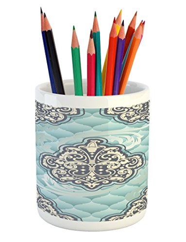 Ambesonne Victorian Pencil Pen Holder, Rococo Style Design Tiles Stylish Romantic Brocade Diamond Arabesque Swirls, Printed Ceramic Pencil Pen Holder for Desk Office Accessory, Pale Blue Ivory (Ivory Diamond Pen)
