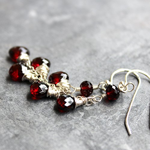 (Garnet Earrings Deep Red Gemstone Trio Cascade Petite Briolettes Sterling Silver Waterfall)