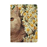 Cute Cat And Flower Leather Passport Holder Cover Case Protector for Men Women Travel with Slots