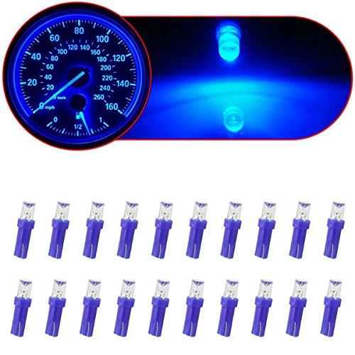 Partsam 20x T5 Instrument Panel Gauge LED Bulbs Light 17 37 73 74 2721 Spread Blue
