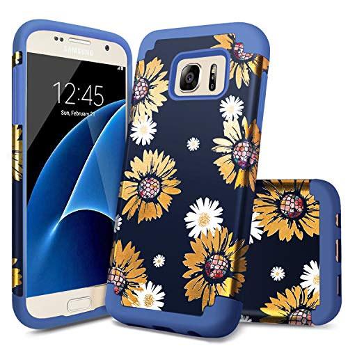Samsung Galaxy S7 Case,Galaxy S7 Case for Girls,Casewind Bronzing Sunflower Daisy Bohemia Hard PC Soft Silicone 2 in 1 Hybrid Shockproof Anti-Slip Bumper Protective S7 Cases and Covers (G930),Blue ()