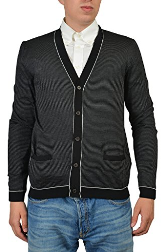 Prada Men's Multicolor Wool Silk Striped Cardigan Sweater US M IT 50; ()