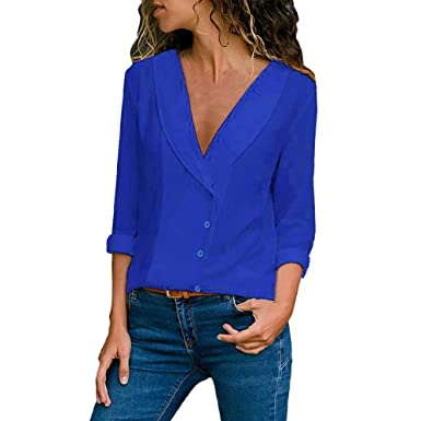 KEERADS Femme Chemisier Couleur Unie Fluide Col V Profonde Bouton Sexy Chemise  Manche Longue avec Bouton Chic New Hauts de Blouse T-Shirt S-XL  Amazon.fr   ... 0bc3cfda1c2c