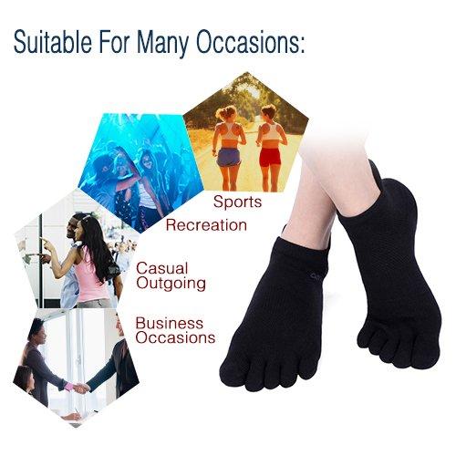 Mens No Show Toe Socks 6 Pairs Original Weight Low Cut Running Toe Socks 8-10.5 by AMAREY (Image #6)