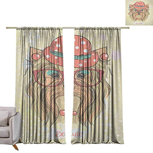 berrly Grommet Blackout Curtains Yorkie,Be Cute Portrait of an Adorable Dog with Earrings Necklace Glasses Hat Makeup, Pale Brown Coral W72 x L84 Art Drapery Panels