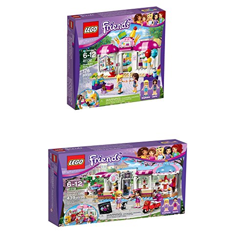 Lego Friends Gift Bundle. Includes LEGO 41132 Friends Heartlake party shop and LEGO Friends Heartlake Cupcake Café 41119 Toy for 6-Year-Olds. (Hill Telephone Stand)