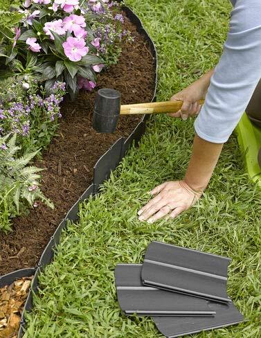 Easy No- Dig, Pound-in, Interlocking Landscaping Edging Kit 4 Tall, 20 Long