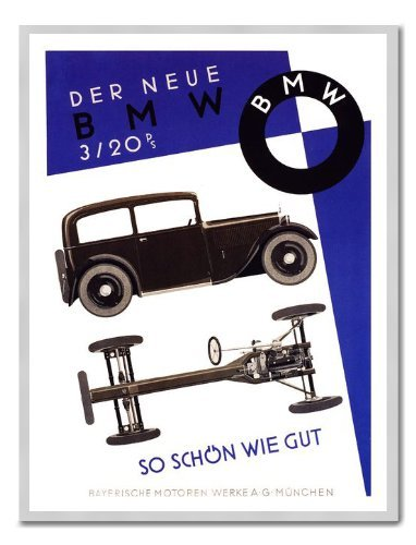 Iposters Bmw 1931 Car Advert Print Magnetic Memo Board Silver Framed - 41 X 31 Cms (approx 16 X 12 Inches)