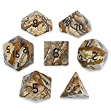 Set of 7 Handmade Stone 16mm Polyhedral Dice with Velvet Pouch by Wiz Dice (Picture Jasper)