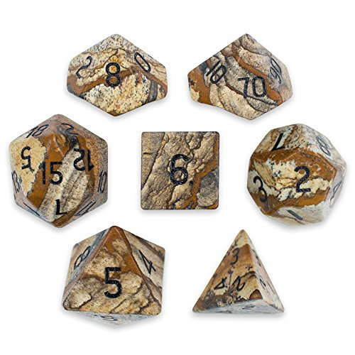 Set of 7 Handmade Stone 16mm Polyhedral Dice with Velvet Pouch by Wiz Dice (Picture Jasper) (Gem Dice)
