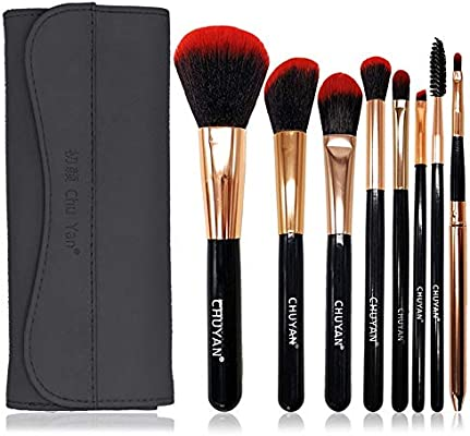 set de brochas para maquillaje Juego completo de tubo de almacenamiento de cepillo para maquillaje para principiantes, 8 bolsas negras rojas + negras, fibra artificial: Amazon.es: Belleza