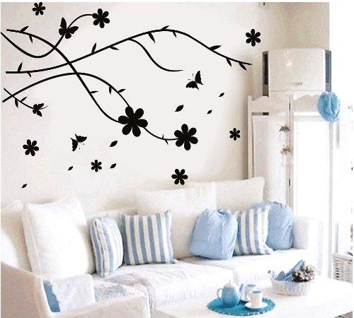 Createforlife hogar vinilo decorativo adhesivo para pared y calcomanías de pared papel pintado Mariposa Flor del árbol