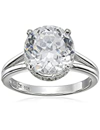 "Platinum Plated Sterling Silver""100 Facets Collection"" Solitaire Cubic Zirconia Ring, Size 8"