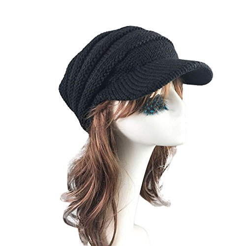 ba08148f3a7 Women Ladies Winter Knitting Hat Warm Artificial Wool Snow Ski Caps With  Visor (T-Black)