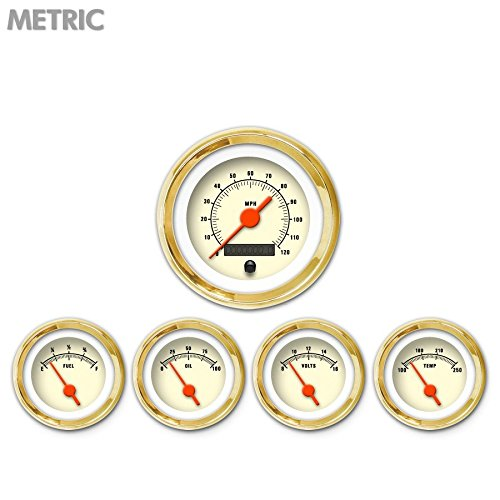Aurora Instruments 5618 Muscle Tan Metric 5-Gauge Set Orange Vintage Needles, Gold Trim Rings, Style Kit Installed