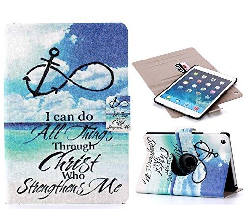 For iPad Mini Case, iPad Mini 1/ 2 /3 Case, Blue Sky Pattern Fashion Art Premium PU Leather + (360 ° Rotating - Painting) / Folio / Stand / Card slot / Protective Skin Case with Magnetic Closure for Apple iPad mini 1/ 2/ 3 (Blue sky)