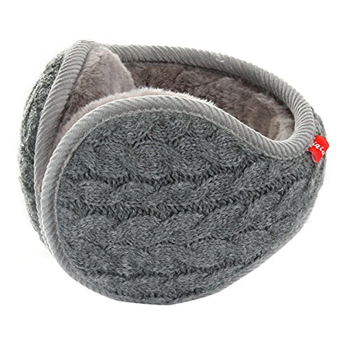 Surblue Unisex Warm Knit Cashmere Winter Pure Color Earmuffs with Fur Earwarmer, Adjustable Wrap,Gray,Large by Surblue
