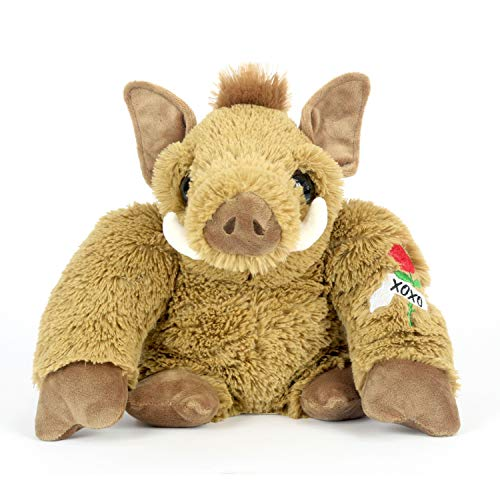 A&T Designs XOXO - Wild Pig Hog with Embroidered Tattoo Valentine's Day Stuffed Animal Plush Doll Toy -