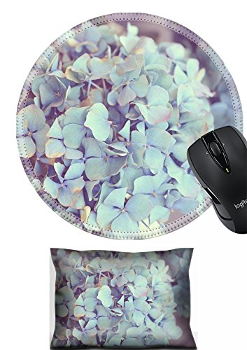 Dreamy Hydrangea (MSD Mouse Wrist Rest and Round Mousepad Set, 2pc Wrist Support design 23318288 Dreamy image of Hydrangea flower)