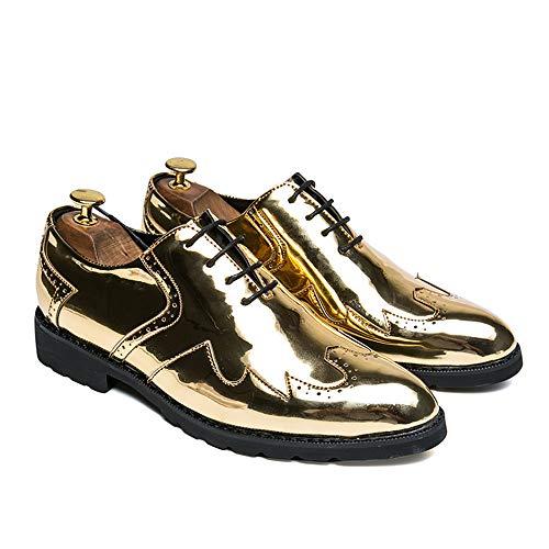 uomo 42 in EU shoes stringate pelle Color da 2018 Wingtip Basse Gold Xujw Dimensione Oxford Nero Scarpe artigianali Stringate Scarpe Tvwqd